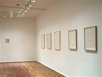 installation view of <b>marcia hafif</b> and <b>robert ryman</b> drawings<br> (checklist 7. - 11. and 12. - 13.)<br>[right-left] by robert ryman